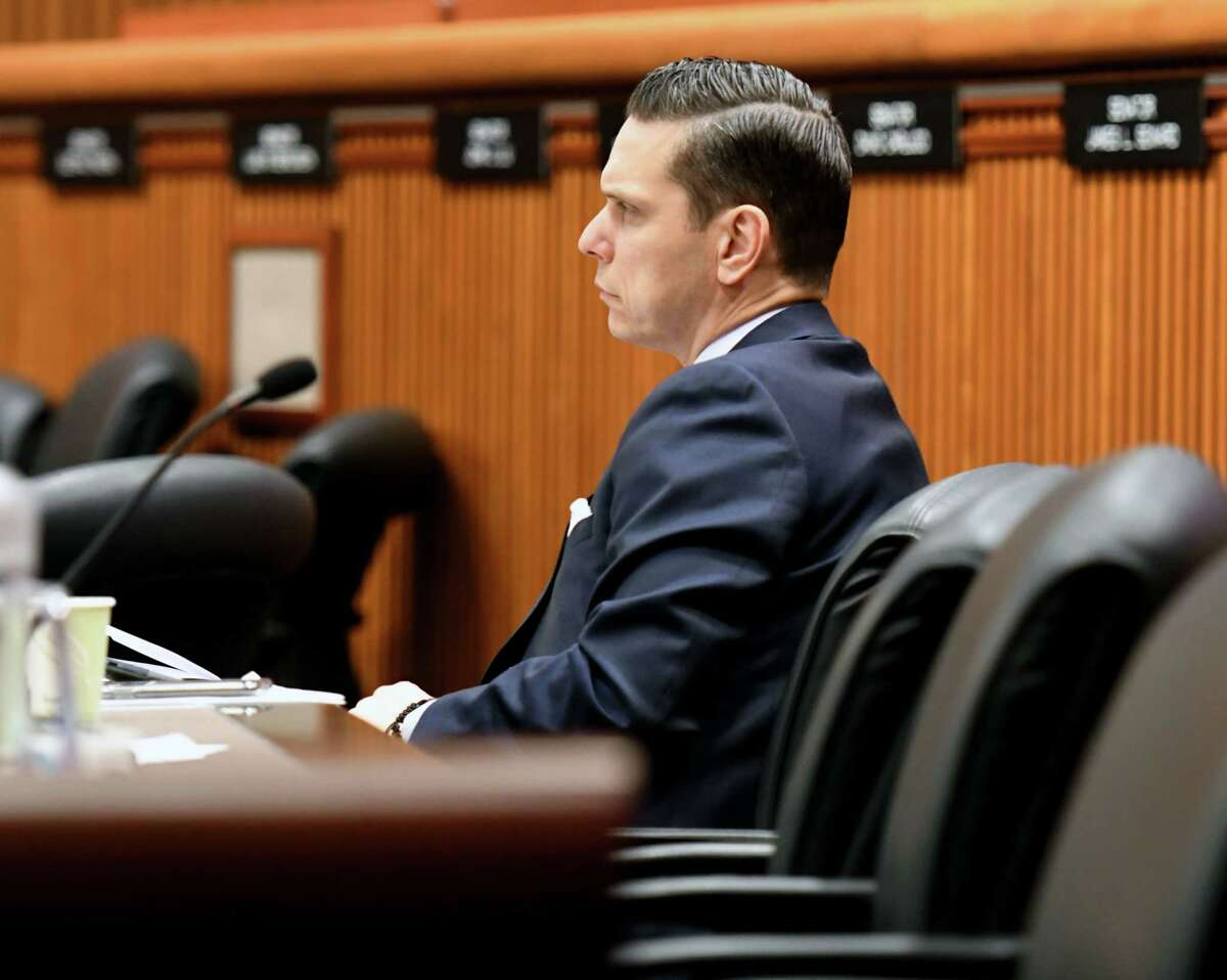 Assemblyman Angelo Santabarbara on Monday, Feb. 3, 2020, at the Legislative Office Building in Albany, N.Y. (Will Waldron/Times Union)