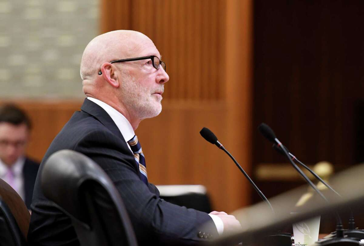 Dr. Theodore Kastner, commissioner of the New York State Office for People with Developmental Disabilities, testifies during a joint legislative hearing on mental hygiene on Monday, Feb. 3, 2020, at the Legislative Office Building in Albany, N.Y. (Will Waldron/Times Union)
