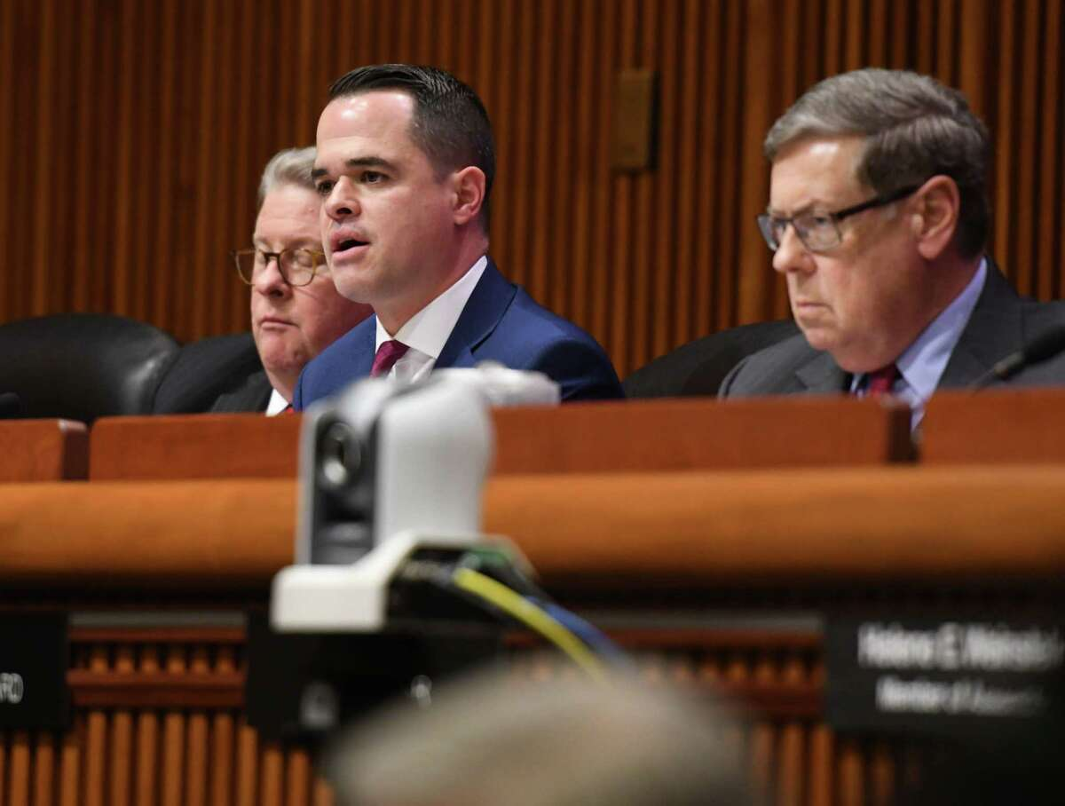 Sen. David Carlucci, center, questions New York State Office for People with Developmental Disabilities Commissioner Dr. Theodore Kastner on Monday, Feb. 3, 2020, during a joint legislative hearing on mental hygiene at the Legislative Office Building in Albany, N.Y. (Will Waldron/Times Union)