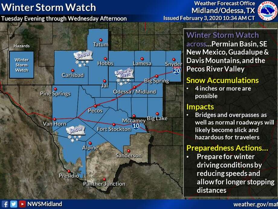Most of the region is under a Winter Storm Watch from Tuesday Evening through Wednesday Afternoon. Snow is expected, with possible snow/sleet mixing in the Permian Basin. 4 or more inches are possible in some locations. Biggest threat will be hazardous travel on the roads during the morning commute. Photo: Midland National Weather Service