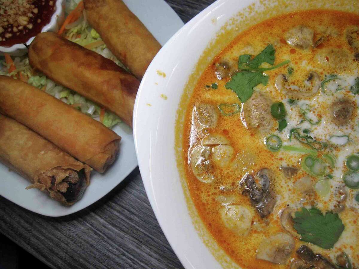 Thai options include fried Thai eggrolls with pork and tom kha soup with chicken at Thai Lucky Sushi Bar downtown.