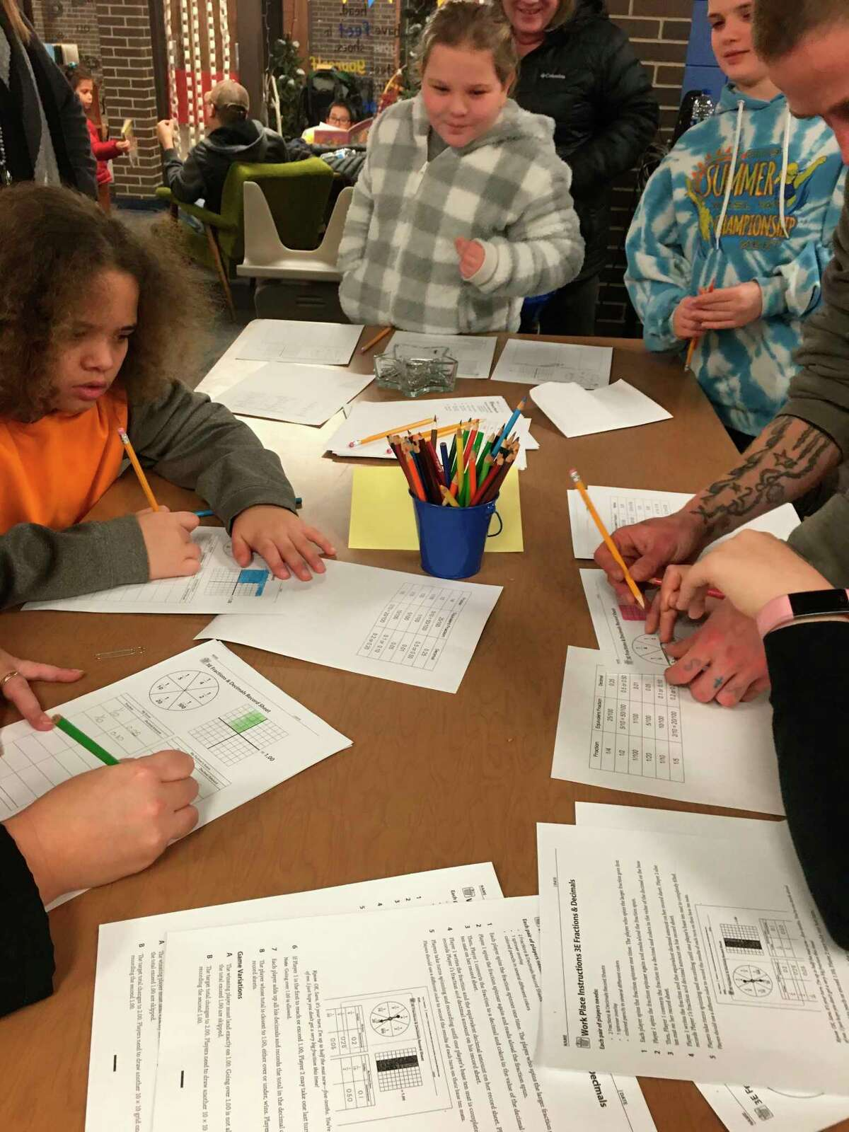 Students work on math activities for Bridges in Mathematics that the Manistee Area Public Schools put in place this year. (Courtesy photo)