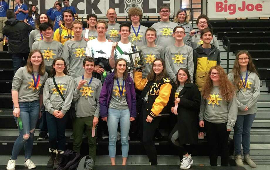 The Manistee High School Science Olympiad proudly show off the trophy they won at the West Ottawa Invitational on Saturday. The Chippewas finished in third place among a very strong field of teams. (Courtesy photo)