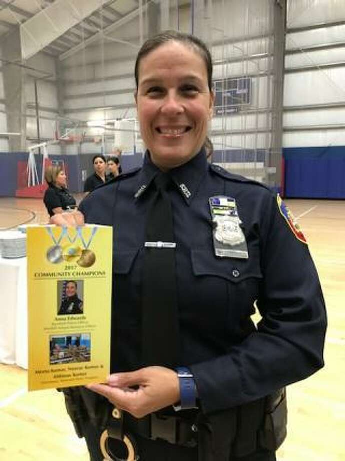 Stamford Police Officer Anna Edwards was injured Friday when she tried to break up a fight between two parents after a high school hockey game. Photo: City Of Stamford / File Photo