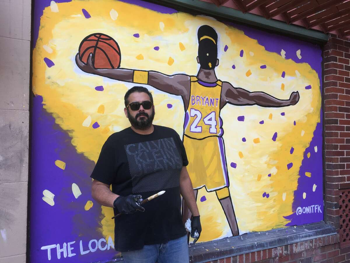 The Local Bar, at 600 N. Presa, tapped artist Faustin Deleon, or @onitfk, to create a piece to cover one of the bar's windows. The art was completed Saturday and depicts Bryant celebrating his last NBA Championship in 2010.
