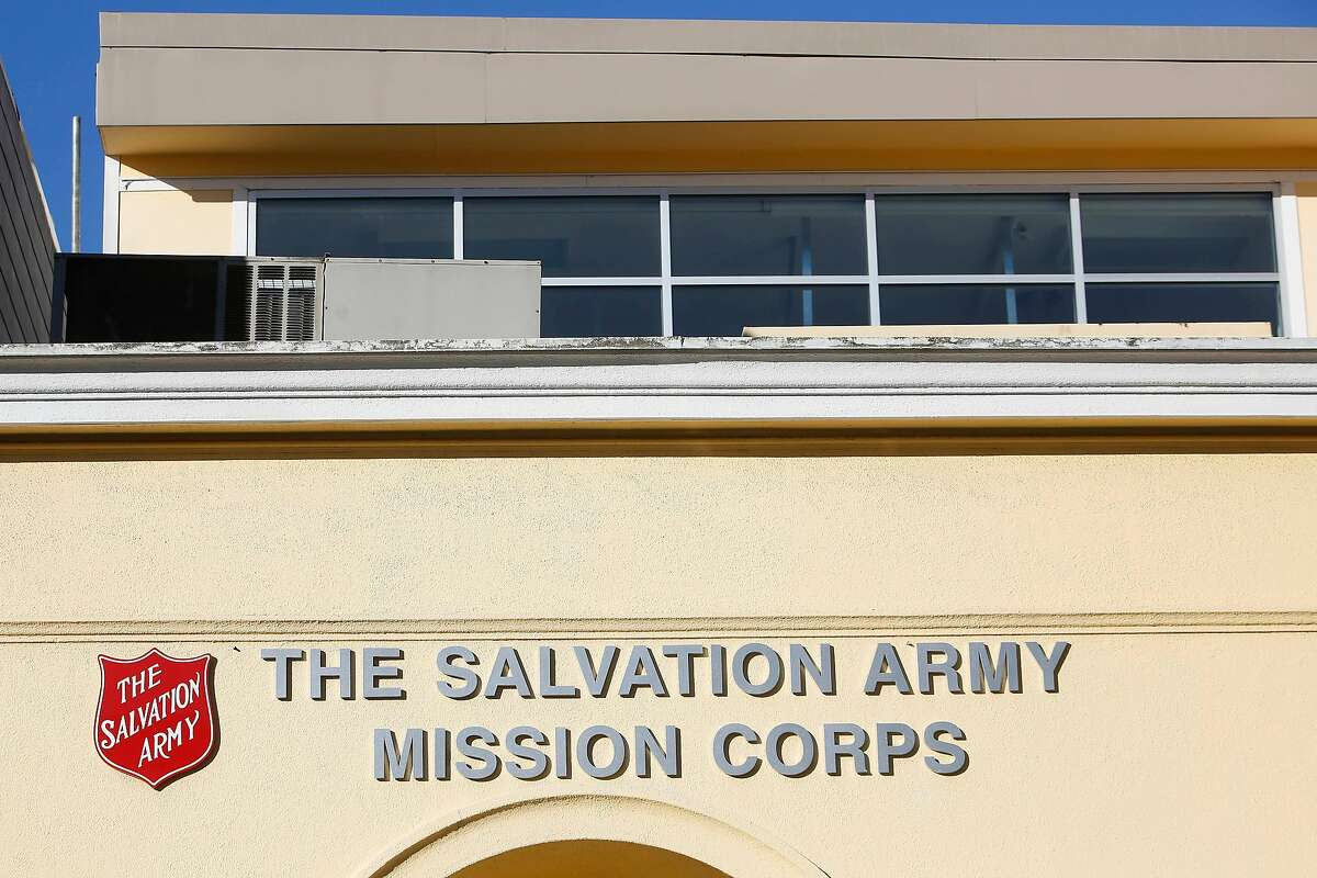 Signage for the Salvation Army is seen on the front of the Salvation Army building at 1156 Valencia on Monday, February 3, 2020 in San Francisco, Calif.