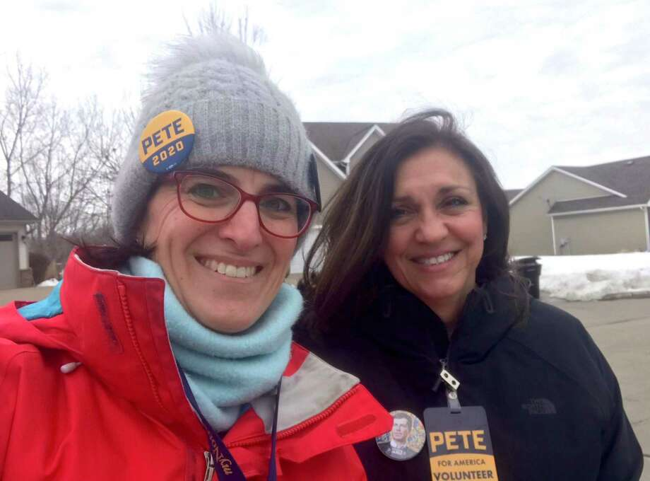State Rep. Cristin McCarthy Vahey, D-Fairfield, and Lori Charlton, a member of the Fairfield Board of Finance, traveled to Iowa, where they went door-knocking Monday for South Bend, Ind., Mayor Pete Buttigieg. Photo: Contributed Photo