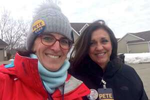 State Rep. Cristin McCarthy Vahey, D-Fairfield, and Lori Charlton, a member of the Fairfield Board of Finance, traveled to Iowa, where they went door-knocking Monday for South Bend, Ind., Mayor Pete Buttigieg.