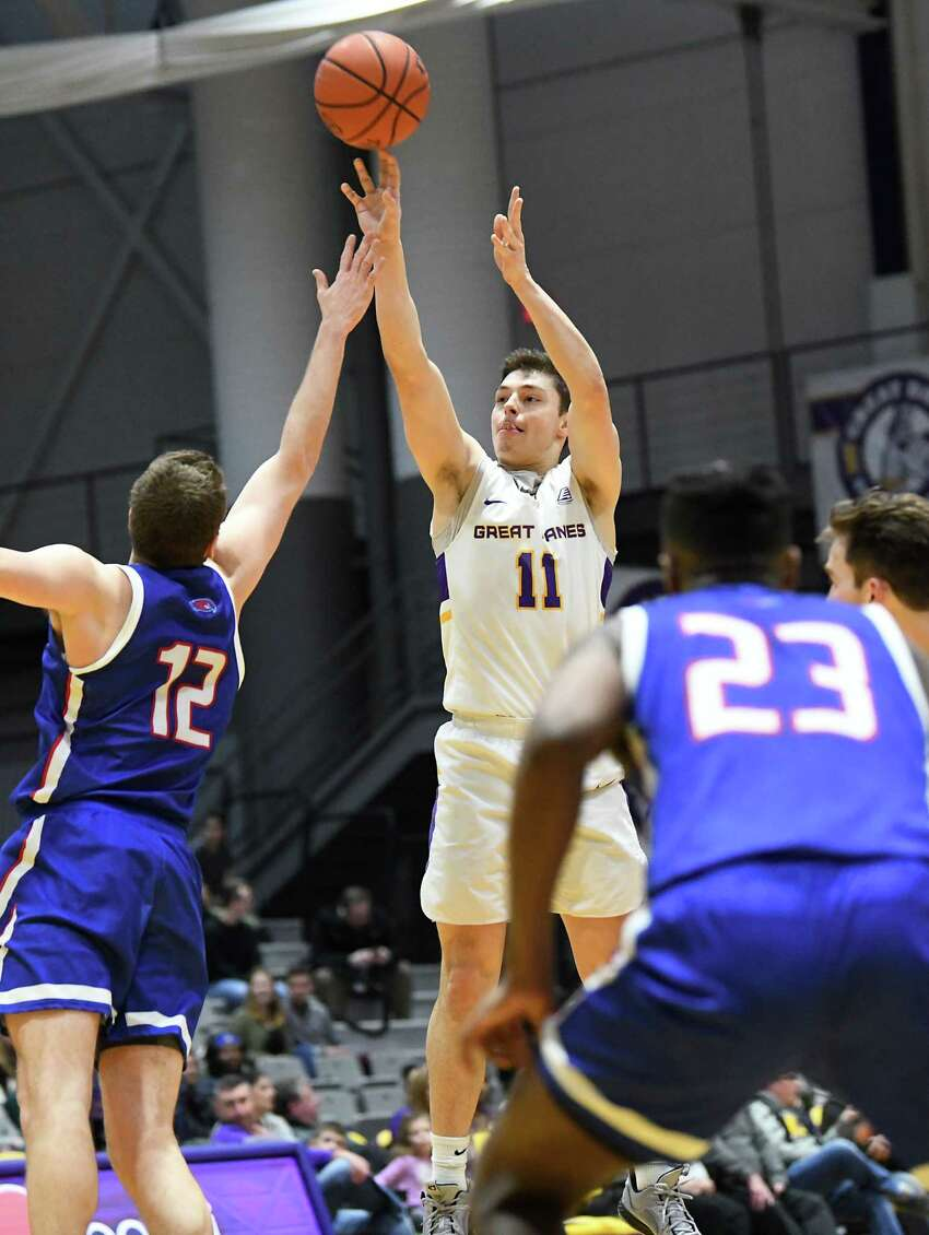 University at Albany's Cameron Healy sinks one of his eight three-pointers during a game against Lowell at SEFCU Arena on Wednesday, Jan. 22, 2020 in Albany, N.Y. Healy scored 41 points to break the school record. (Lori Van Buren/Times Union)