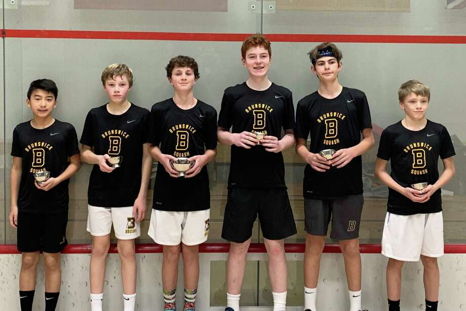 Brunswick School's 'A' team placed second at the 2020 U.S. Middle School Team Squash Championships, held January 31-February 2, 2020, at Yale University in New Haven, Connecticut. The Bruins were second in the tournament's Division I bracket. Photo: Contributed Photo