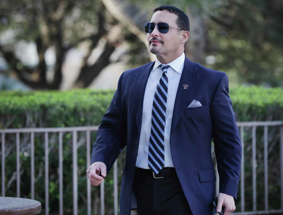 """Convicted San Antonio oilman Brian Alfaro was released from a Limestone County detention facility this week. A federal judge granted his release after Alfaro's lawyer said in court filing that his client is """"more susceptible to the effects of COVID-19"""" because of multiple sclerosis. Alfaro is pictured arriving for the first day of his trial last month at the John H. Wood Jr. U.S. District Courthouse."""