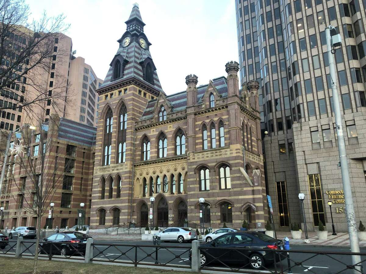 The facade of the New Haven City Hall, designed by architect Henry Austin and completed in 1861. The rest of the building was demolished and replaced by a modern building. City Hall's address is 165 Church St., New Haven, Connecticut.