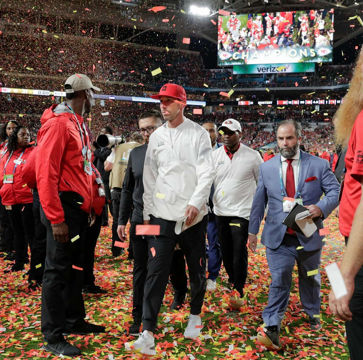San Francisco 49ers' head coach Kyle Shanahan walks off the field after the team's 31 to 20 loss in Super Bowl LIV between the San Francisco 49ers and the Kansas City Chiefs at Hard Rock Stadium on Sunday, Feb. 2, 2020 in Miami Gardens, Fla.