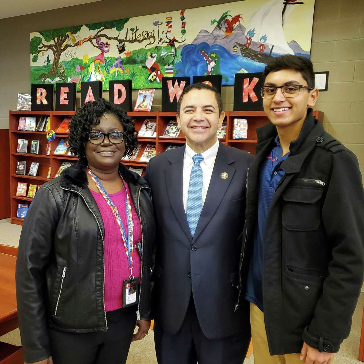 Ian Fernandes, right, a Wagner High School junior, is a 2019 Congressional App Challenge winner, as awarded Jan. 22 by U.S. Rep. Henry Cuellar (D-Texas) and Wagner Principal Mary Duhart-Toppen, left.