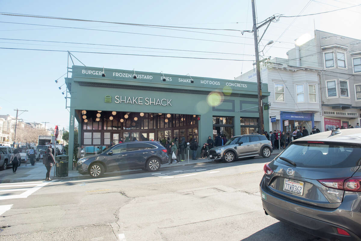 Shake Shack opens in Cow Hollow with a line around the block.