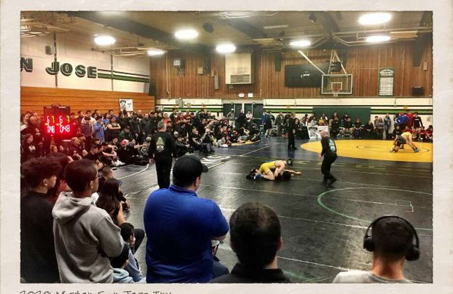 Long time tradition – Crowd surrounds the mats during the Mission San Jose Invitational Semi-Finals Photo: SportStars Magazine
