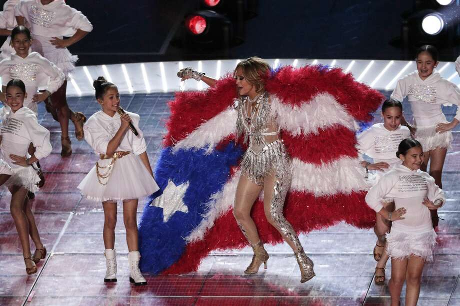 Jennifer Lopez and daughter Emme Maribel Muniz perform during halftime of Super Bowl 54 on Sunday, Feb. 2, in Miami Gardens, Fla. Photo: AP Photo/Charlie Riedel / Copyright 2020 The Associated Press. All rights reserved.