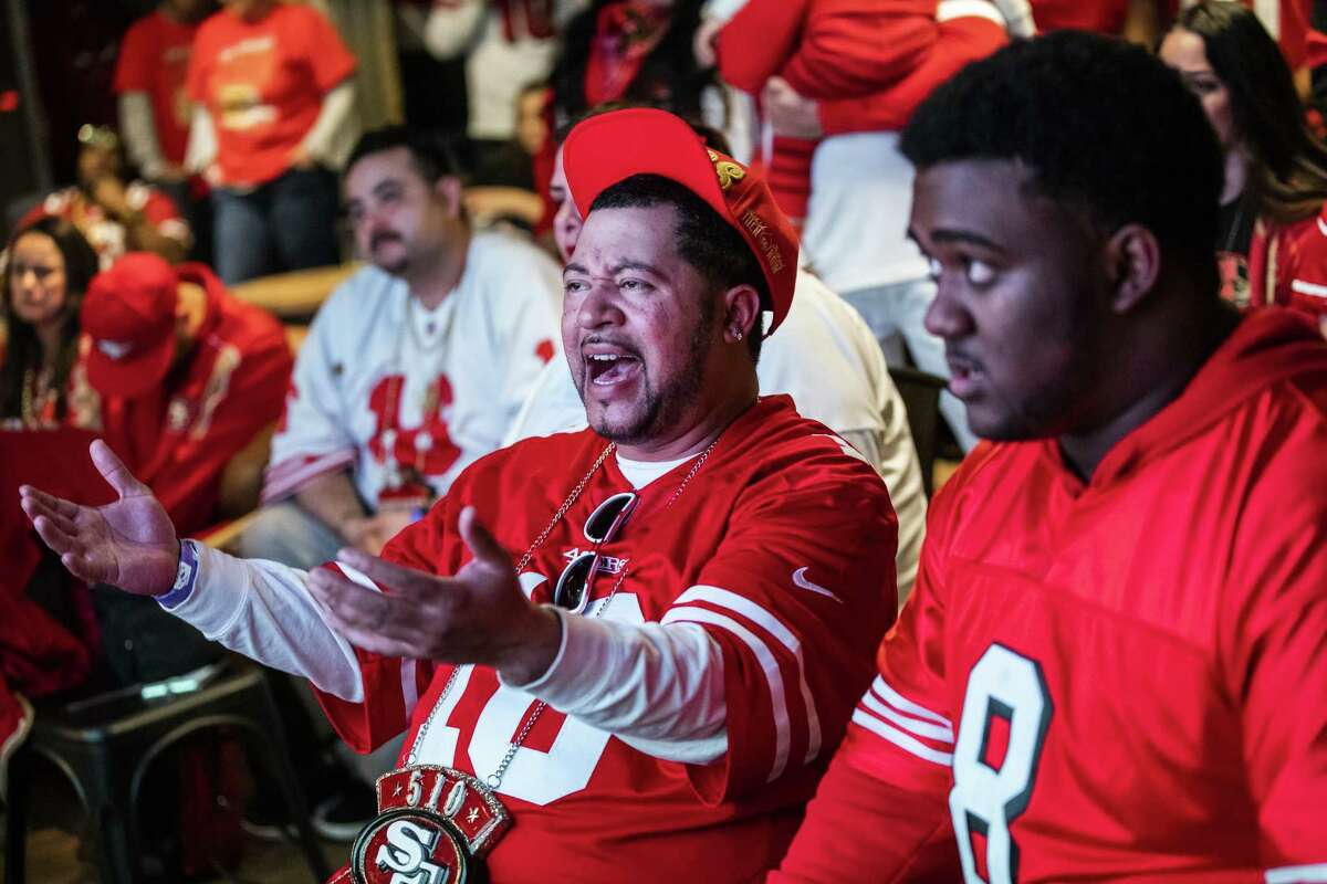 SAN FRANCISCO, CA - FEBRUARY 02: Trae Beauchamp (L) of Oakland, California reacts while watching the San Francisco 49ers play the Kansas City Chiefs during a Super Bowl LIV watch party at SPIN San Francisco on February 2, 2020 in San Francisco, California. The San Francisco 49ers faced the Kansas City Chiefs in Super Bowl LIV for their seventh appearance at the NFL championship, leading the game into half time and losing after 21 unanswered points in the second half of the game. (Photo by Philip Pacheco/Getty Images)