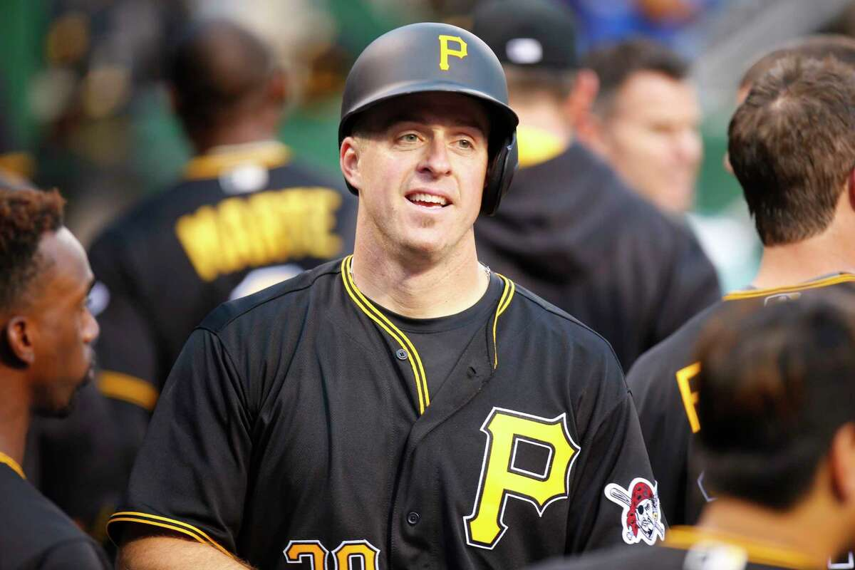 PITTSBURGH, PA - JUNE 20: Erik Kratz #38 of the Pittsburgh Pirates celebrates after hitting a home run in the fifth inning during the game against the San Francisco Giants at PNC Park on June 20, 2016 in Pittsburgh, Pennsylvania. (Photo by Justin K. Aller/Getty Images) ORG XMIT: 607680149