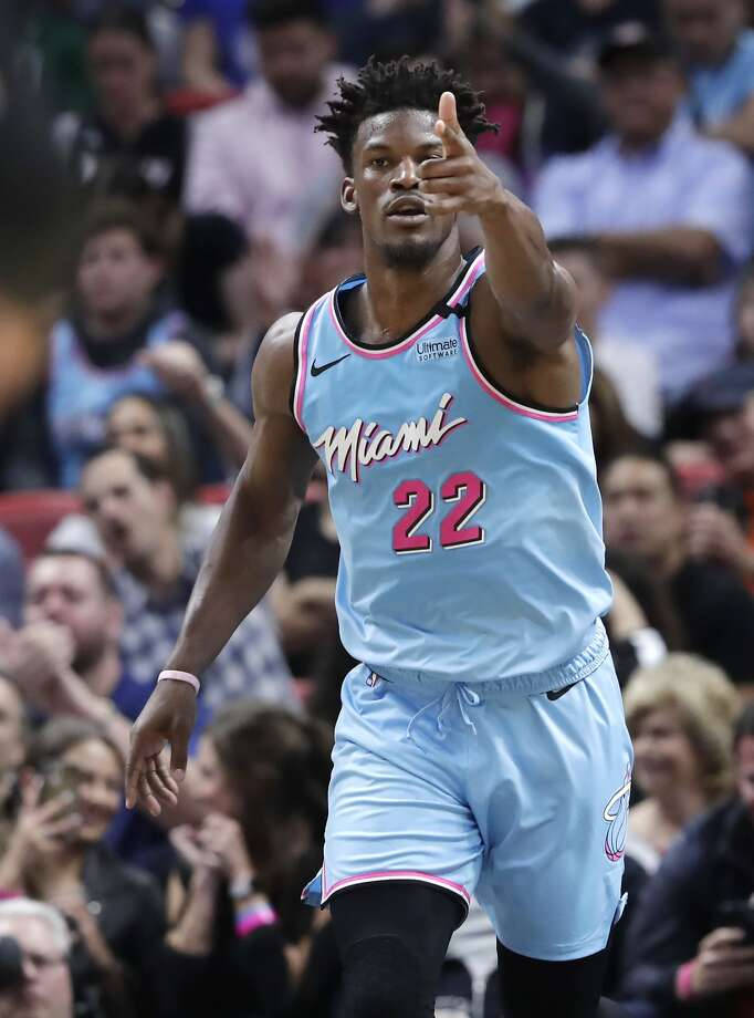 Heat forward Jimmy Butler reacts after scoring agan NBA basketball game against the Philadelphia 76ers, Monday, Feb. 3, 2020, in Miami. (AP Photo/Lynne Sladky) Photo: Lynne Sladky / Associated Press
