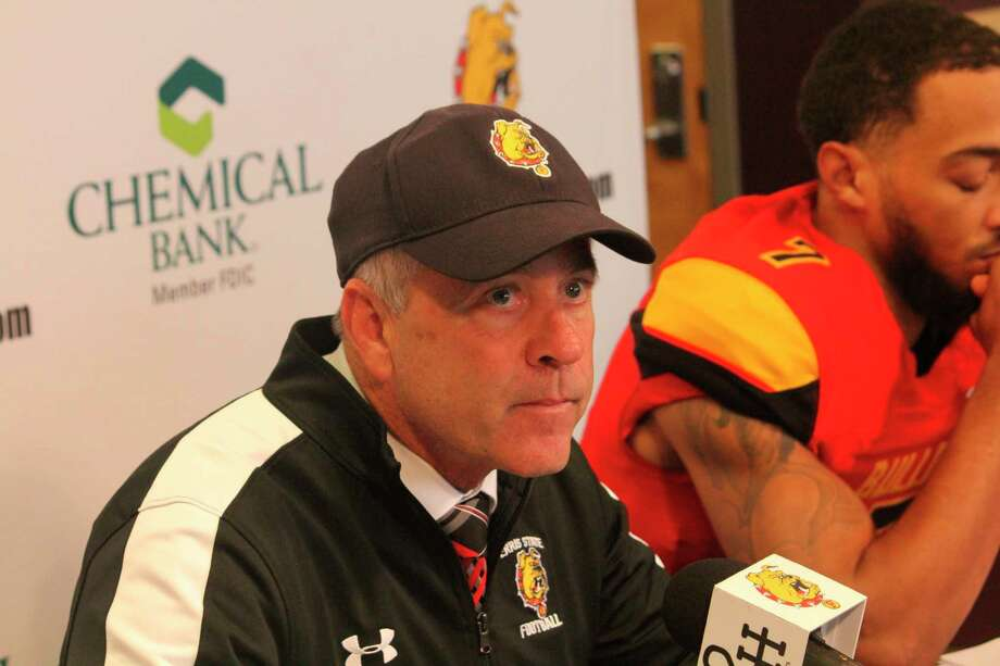 Ferris football coach Tony Annese announces his list of signing recruits on Wednesday. (Pioneer file photo)
