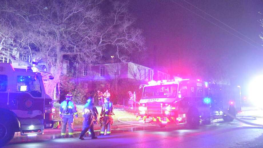 Several families were displaced from their homes Tuesday morning after a 2-alarm fire ripped through apartment complex near 400 Cropsey Avenue. Photo: Ken Branca