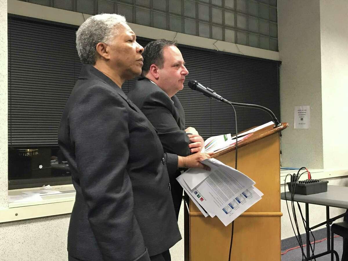 New Haven interim Superintendent of Schools Iline Tracey and CFO Phil Penn on Feb. 3, 2020.