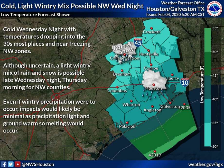 A wintry mix of rain and snow is in the forecast for areas north and northwest of Houston on Wednesday, Feb. 5, 2020. Photo: National Weather Service