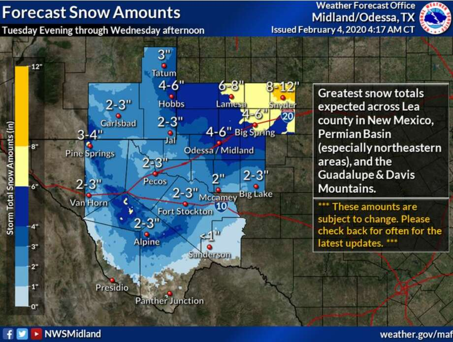 A rapidly intensifying storm system will take aim on the region late Tuesday through Wednesday, will result in snow accumulations across much of Southeast New Mexico and West Texas. Photo: NWS Midland/Odessa