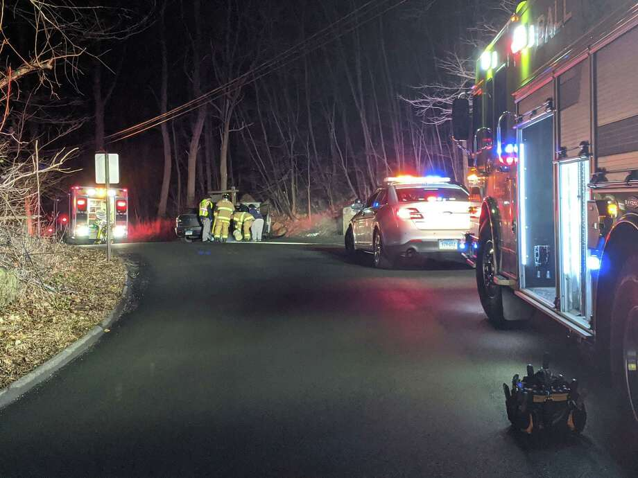 Police, fire and EMS at the scene of the Saturday night crash on Short Woods Road in New Fairfield. Photo: New Fairfield Volunteer Fire Department
