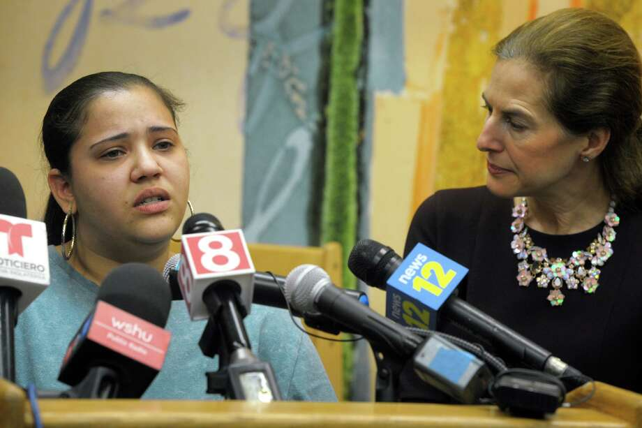 Jessica Soba, a single mother who's child attends preschool at the ABCD childcare facility, speaks during a news conference at the Bridgeport, Conn. Feb. 3, 2020. Soba is seen here with Lt. Gov. Susan Bysiewicz. Governor Ned Lamont and Bysiewicz joined other state and local officials to announce a new Care 4 Kids initiative that will help low income families pay for early childcare education costs. Photo: Ned Gerard / Hearst Connecticut Media / Connecticut Post