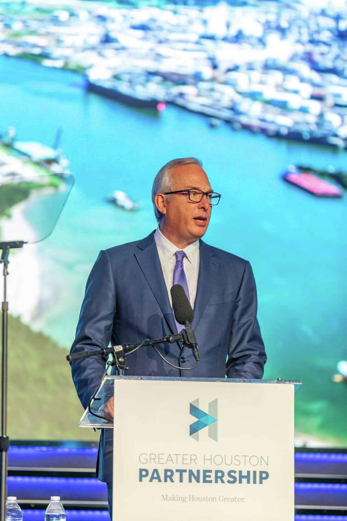 Bobby Tudor addresses the Greater Houston Partnership annual meeting on Jan. 22, 2020.