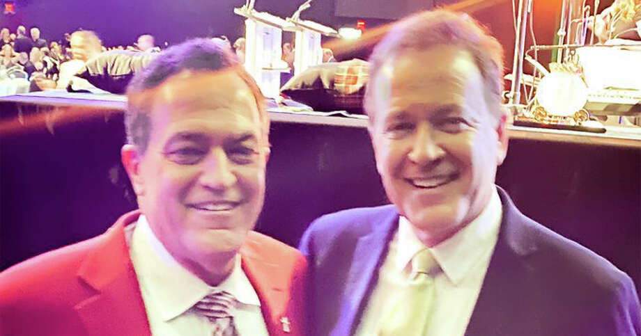 News 4 San Antonio anchor Randy Beamer shared this photo of himself and Dr. David Seguin from Dental Care of San Antonio. Seguin gets comments saying he looks like Beamer. Photo: Randy Beamer Twitter