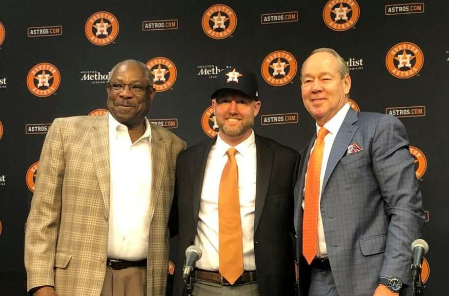 PHOTOS: More of Astros' new general manager James Click New Houston Astros general manager James Click (center) at his introductory press conference with manager Dusty Baker and owner Jim Crane on Tuesday, Feb. 4, 2020 at Minute Maid Park. Photo: Chandler Rome