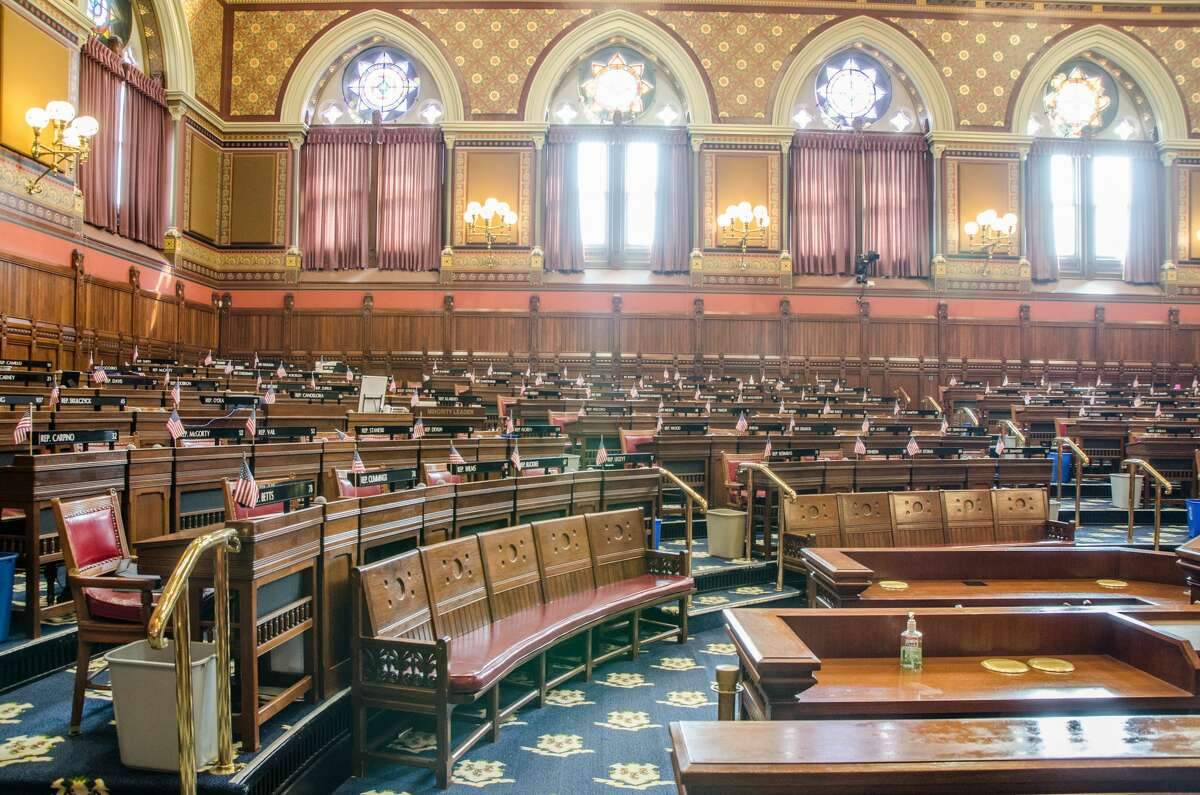 The Senate chamber of the State Capitol in Hartford