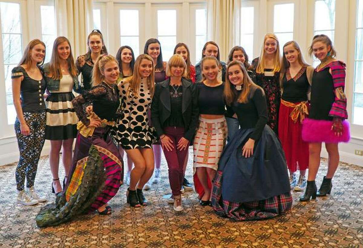 Hadley Pollet, New Canaan High School, NCHS, class of 1988, gave the keynote speech and participated in the fashion show at the National Charity League's annual Mother Daughter Tea on Sunday, February 2, 2020. Ally Riley, Allie Vogel, Hadley Pollet, Quincy Connell and Olivia Bognon (front row); Meredith Waldron, Mia Mitchell, Olivia Sheridan, Alexandra Mehos, Heather Doherty, Emma Dunlap, Maggie Streinger, Taylor Frame, Elizabeth DeMarino, Katherine Lisecky and Caroline Kelly (back row).