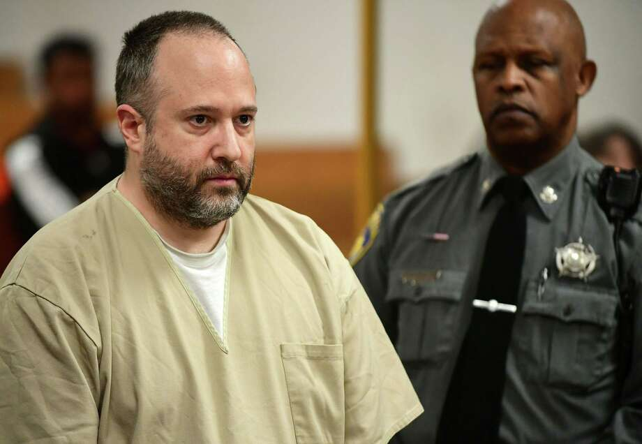 Jason Gilbertie, 42, appears in Superior Court in Norwalk on Tuesday. He is accused of destroying items and knocking over display cases in the cosmetics department of Bloomingdale's at The SoNo Collection in Norwalk. Photo: Erik Trautmann / Hearst Connecticut Media / Norwalk Hour