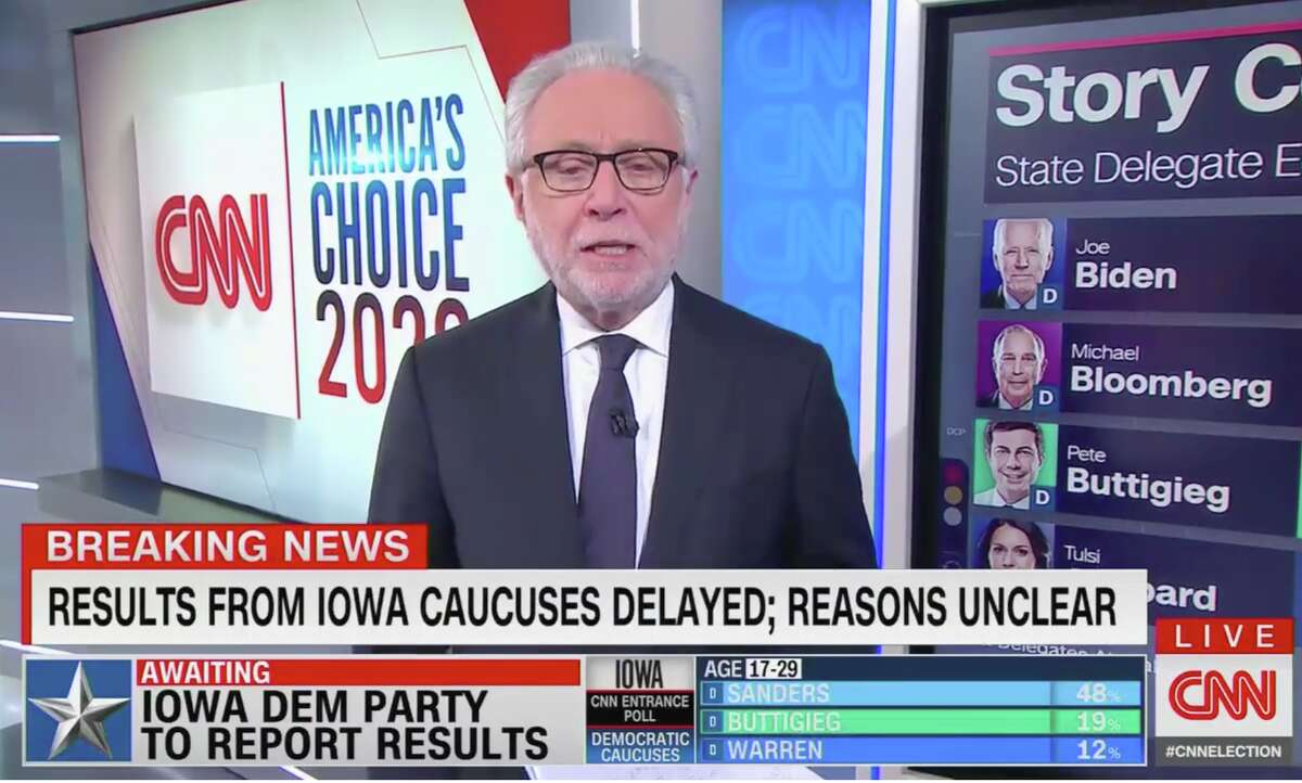 Wolf Blitzer appears on CNN during the night of the 2020 Iowa Democratic caucus.