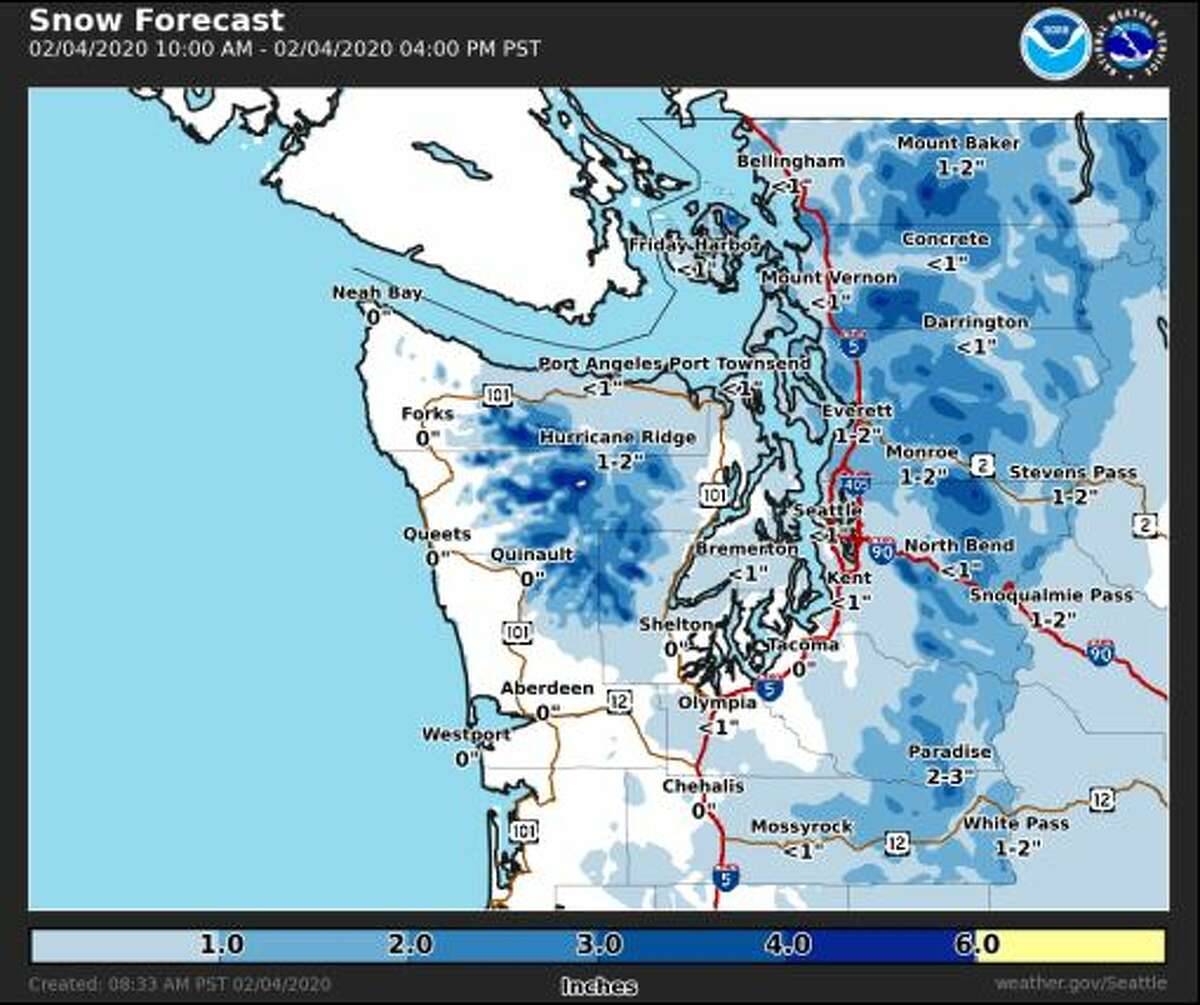 Snow is expected to fall in the lowlands of western Washington between 12 p.m. and 2 p.m.