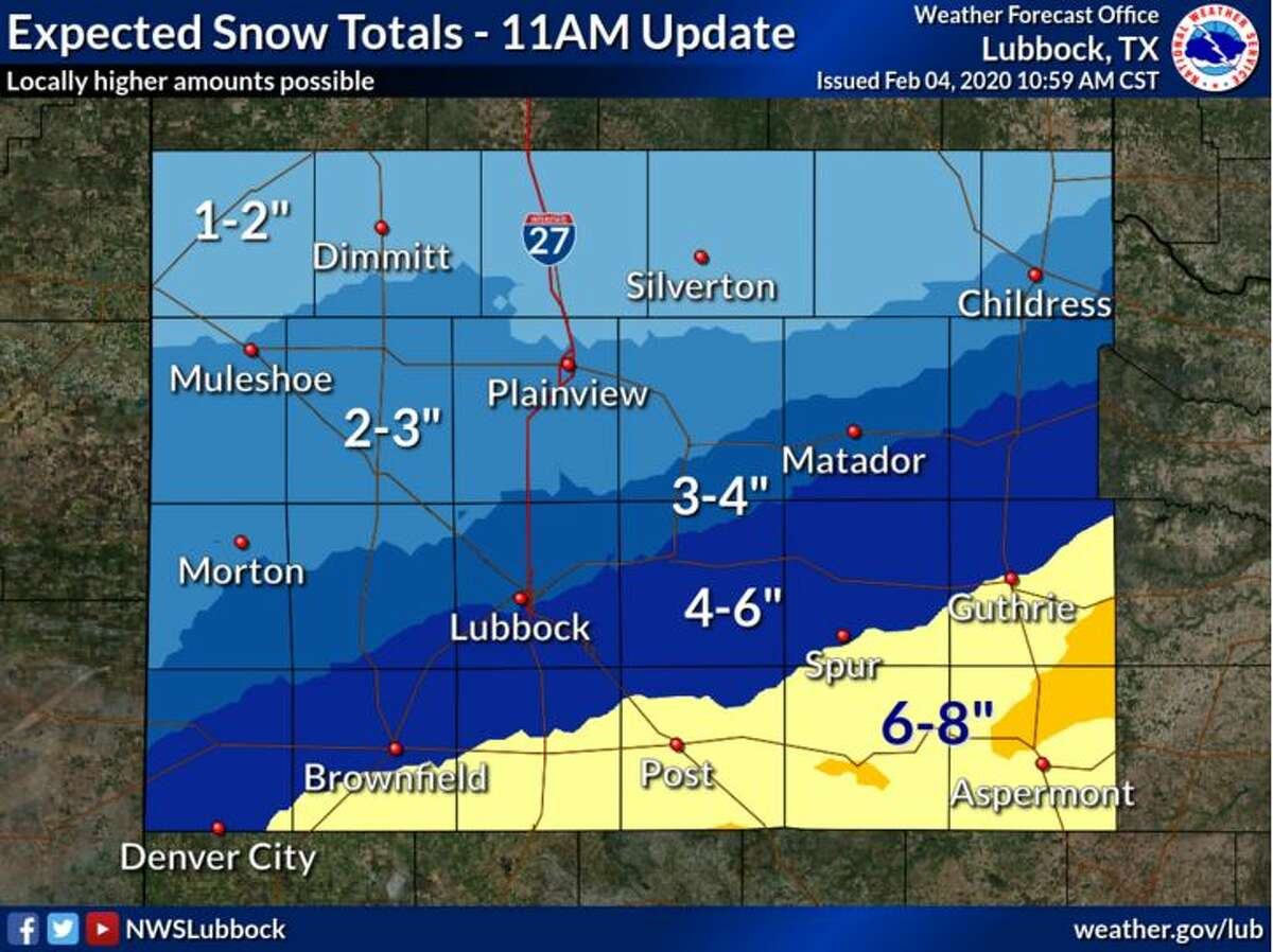 """Accumulations of up to 2"""" will be possible across the NW South Plains and the extreme southern TX Panhandle, with a steady increase in accumulation potential the further south and east along the Caprock and Rolling Plains. As much as 6"""" or greater may be possible in the southeastern Rolling Plains."""