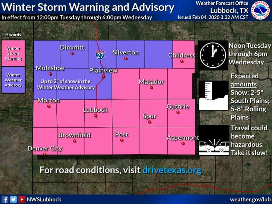 A Winter Storm Warning is in effect for the South and Rolling Plains from noon CST Tuesday through 6:00pm CST Wednesday. A Winter Weather Advisory is also in effect for the northwestern South Plains and the extreme southern Texas Panhandle from noon CST Tuesday through 6:00pm CST Wednesday. Photo: NWS Lubbock