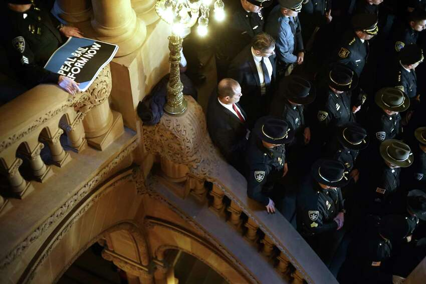 Members of law enforcement from around the state take part in a rally at the Capitol calling for the repeal or amendment of criminal justice reform act on Tuesday, Feb. 4, 2020, in Albany, N.Y. (Paul Buckowski/Times Union)