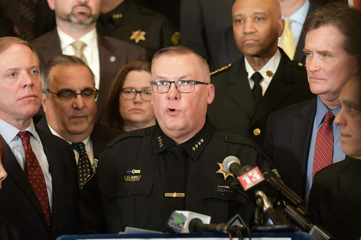Washington County Sheriff Jeff Murphy speaks at a rally at the Capitol on Tuesday, Feb. 4, 2020, in Albany, N.Y. (Paul Buckowski/Times Union)