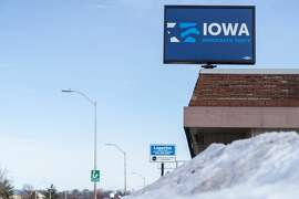The Iowa Democratic party head office is seen on February 4,2020 in Des Moines, Iowa.