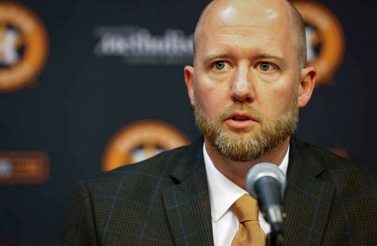 James Click, newly-hired Houston Astros general manager, talks during a press conference Tuesday, Feb. 4, 2020, at Minute Maid Park in Houston.