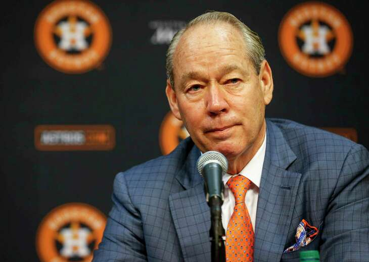 Jim Crane, Houston Astros owner and chairman, listens during a press conference Tuesday, Feb. 4, 2020, at Minute Maid Park in Houston.
