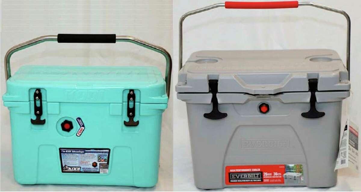 The photographs show comparable views of a Kodi 20-quart cooler, left, and a Home Depot Everbilt 26-quart cooler.
