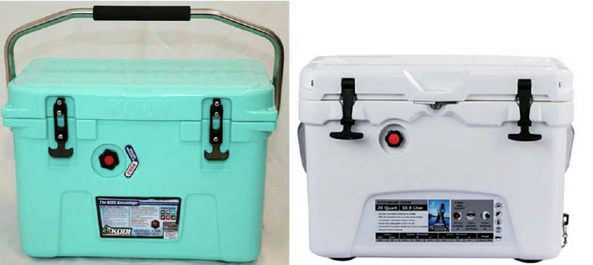 The photographs show comparable views of a Kodi 20-quart cooler, left, and a Kuer 20-quart cooler.