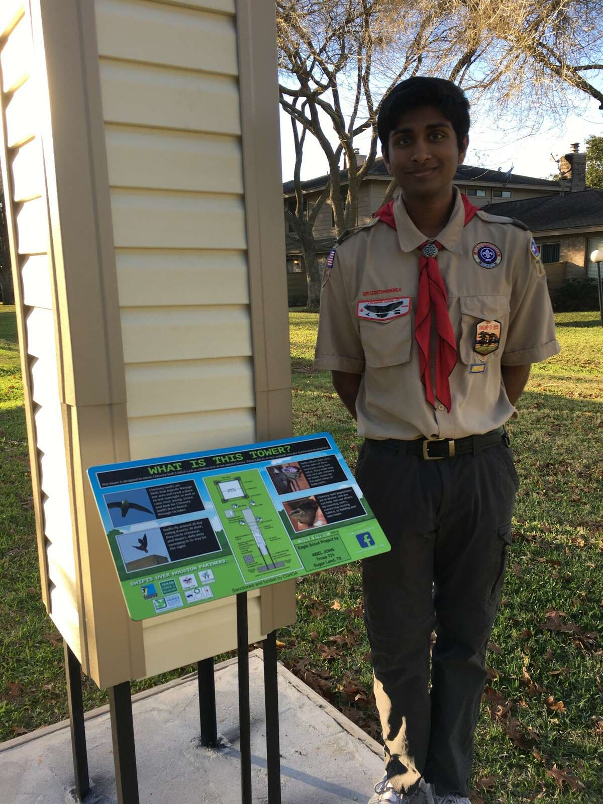 Boy Scout Abel John, a junior at Clements High School, built a Chimney Swift Tower at the Colony Grant Clubhouse at 2475 Robinsons Ferry in Sugar Land, for his Eagle Scout project.