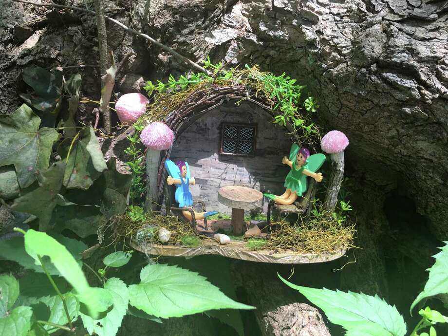 Homes simliar to this one on a path in Ridgefield, Conn. will dot the Friendswood Fairy Trail when it opens June 5 in Stevenson Park. Photo: Stephen Coulter / Hearst